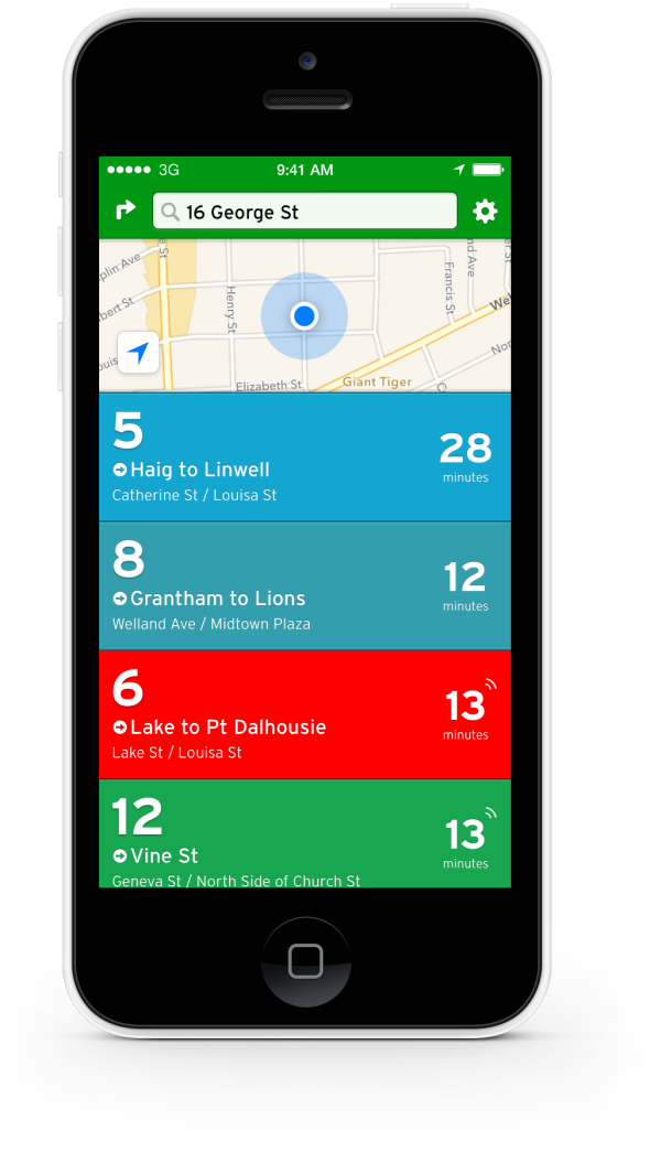 Picture of the Transit App open on an iPhone