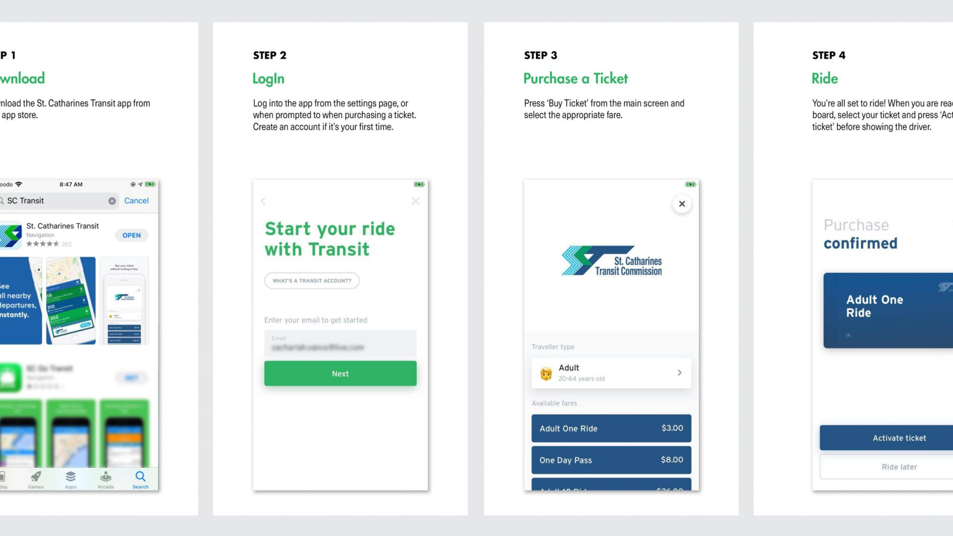 St Catharines Transit App ticket purchasing guide.