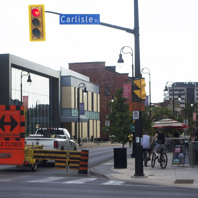 Photo for St. Paul St. closed at Carlisle St.  SOURCE: Downtown Association web page.